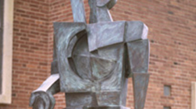 "The 10-foot bronze statue, called ""Forgiven Man,"" was stolen Oct. 3 from a memorial garden in front of the First Congregational Church."
