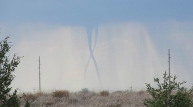 Twin tornadoes north of Hays Wednesday evening. (Photo from http://www.theweatherspace.com)