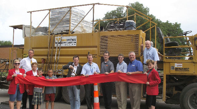 Officials Monday morning celebrated a local company's contribution to improving Salina streets.