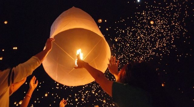 A sky lantern, also known as Kongming lantern or Chinese lantern, is essentially a small hot air balloon made of paper, with an opening at the bottom where a small fire is suspended.