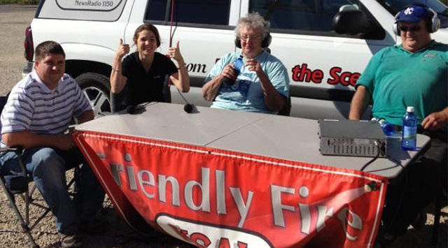 KSAL's Clarke and Nancy interview Cargill's Logistics Staffers Bret Hartman (far left) and Cydney Friemel.