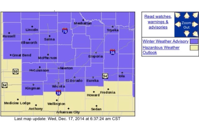 A Winter Weather Advisory is in effect from 3:00 Wednesday afternoon  through 6:00 Thursday morning.
