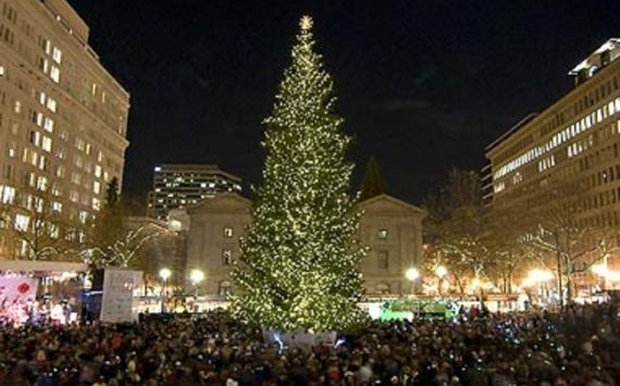 a 65 foot artificial tree that is touted as the states tallest holiday tree is lighting downtown manhattan
