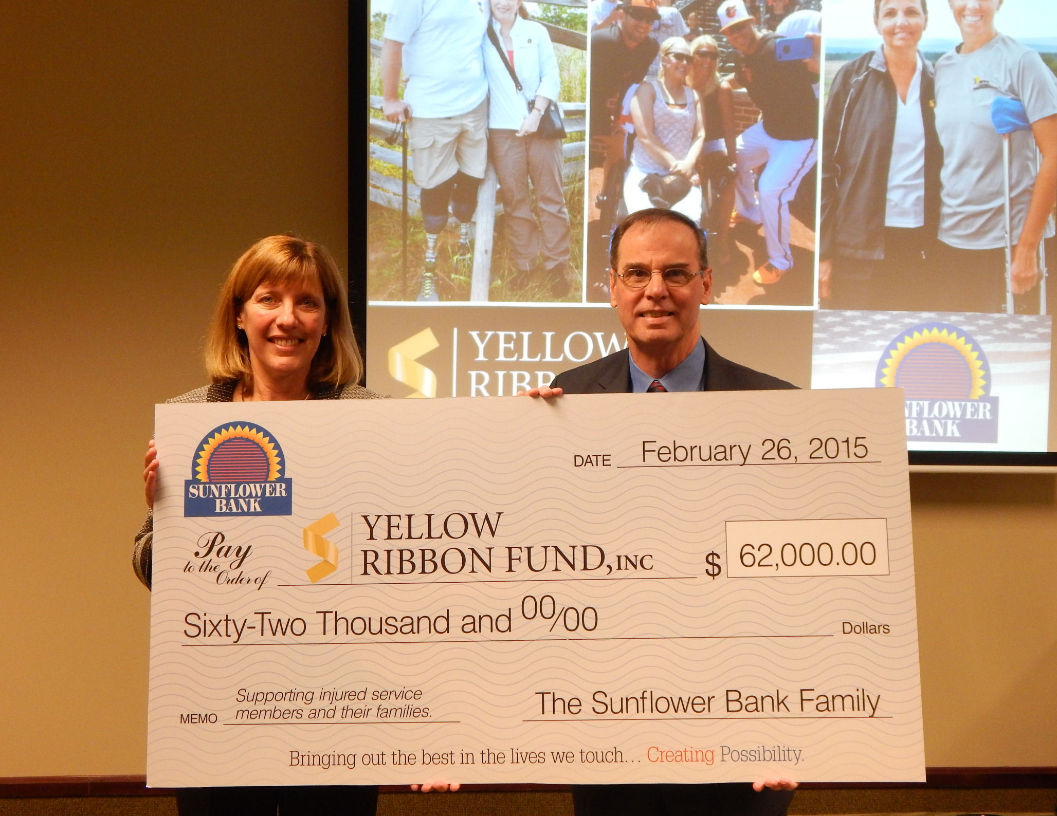 Bank Gives $62,000 To Help Wounded Soldiers