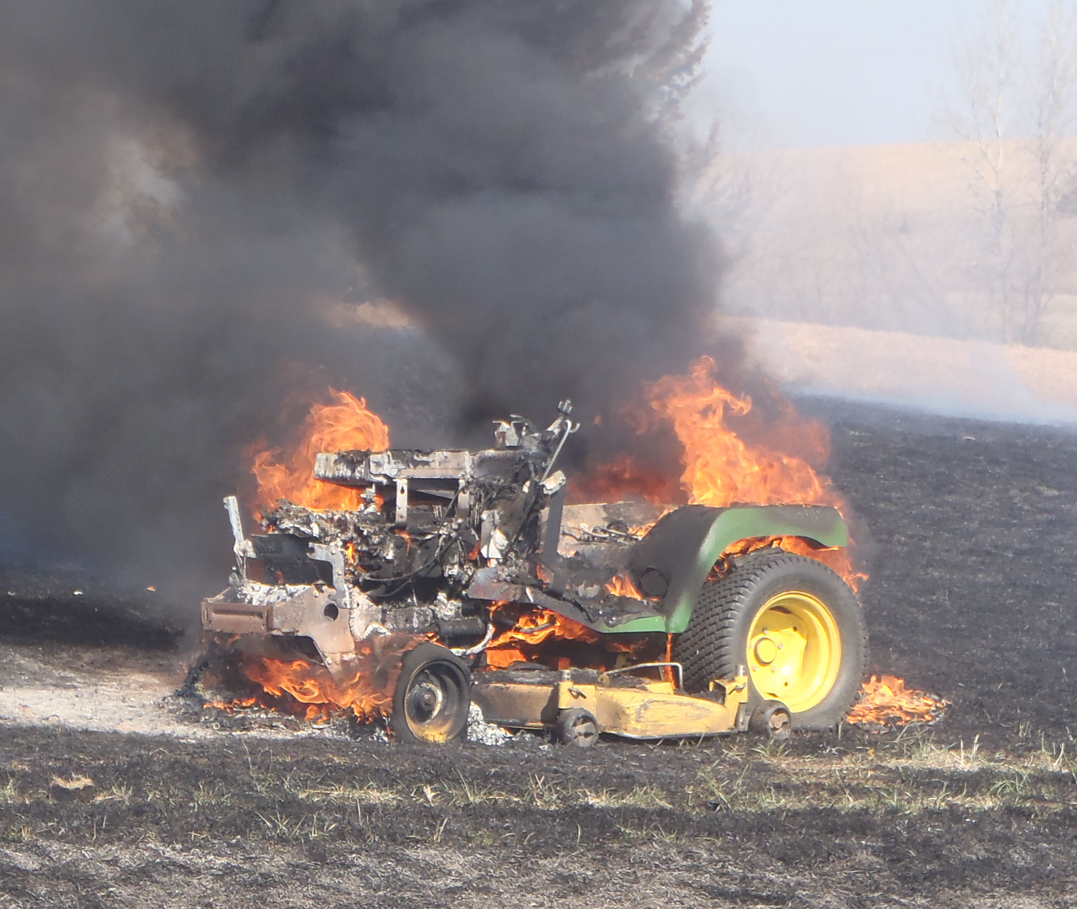 Fire Destroys Lawn Tractor