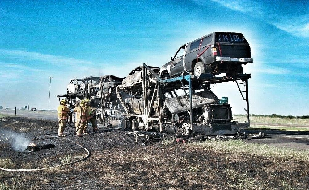 Truck Hauling Vehicles Catches Fire