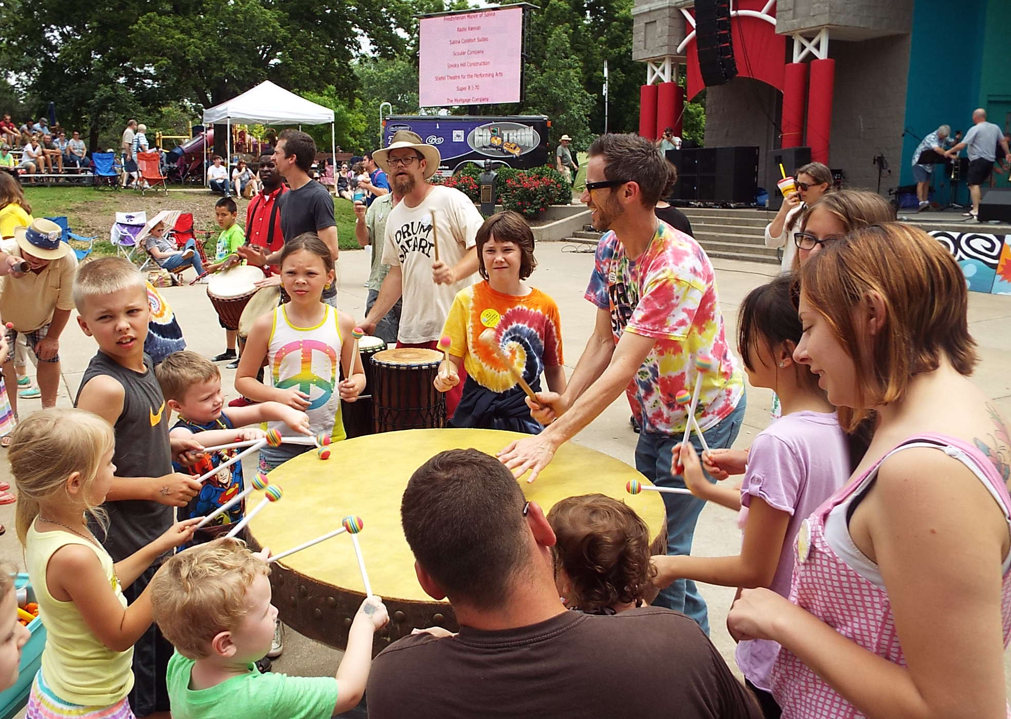 Drum Safari involves the crowd as they perform Saturday afternoon.