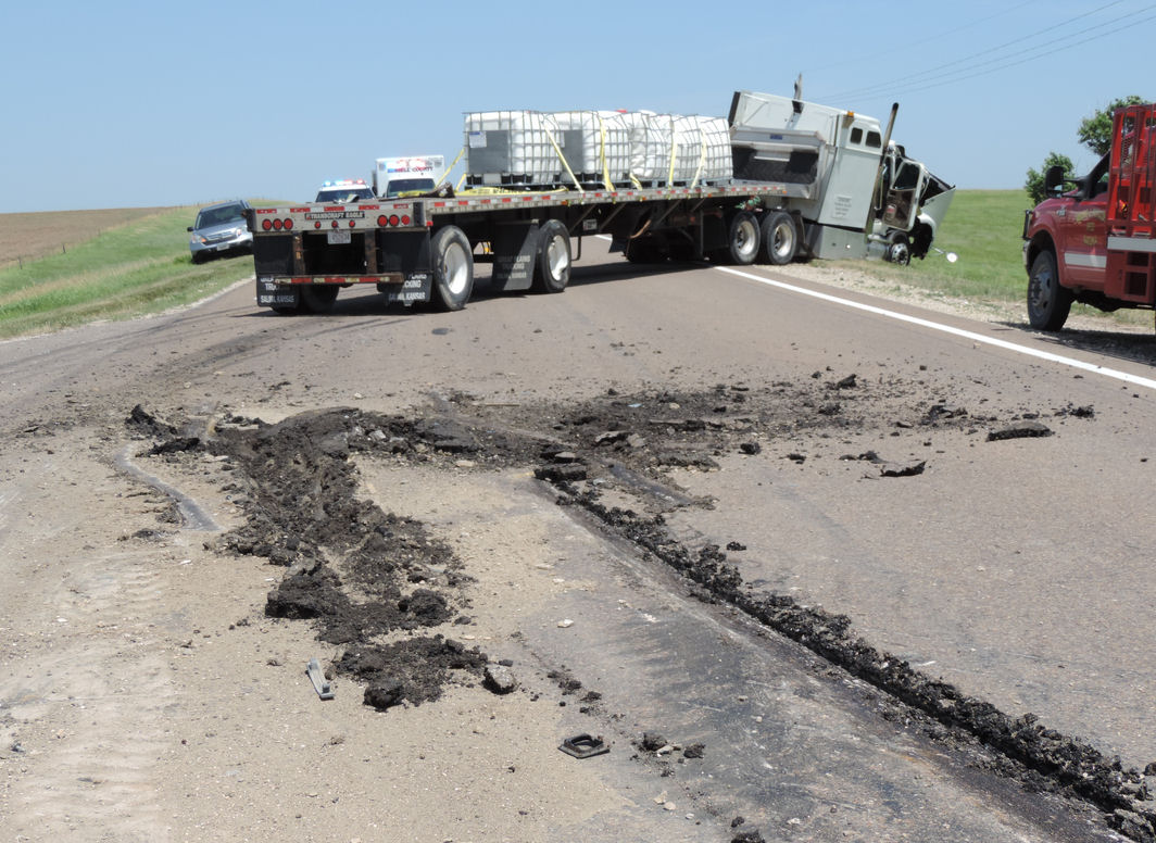 Salina Semi Collides With Road Grader