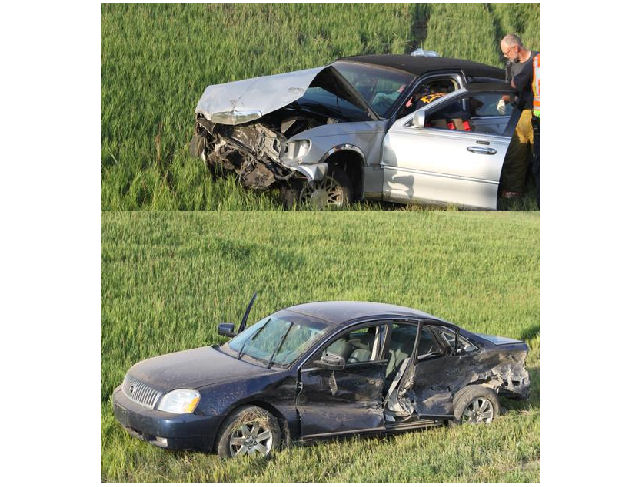 These two vehicles were in the initial crash. (Kansas Highway patrol photos)