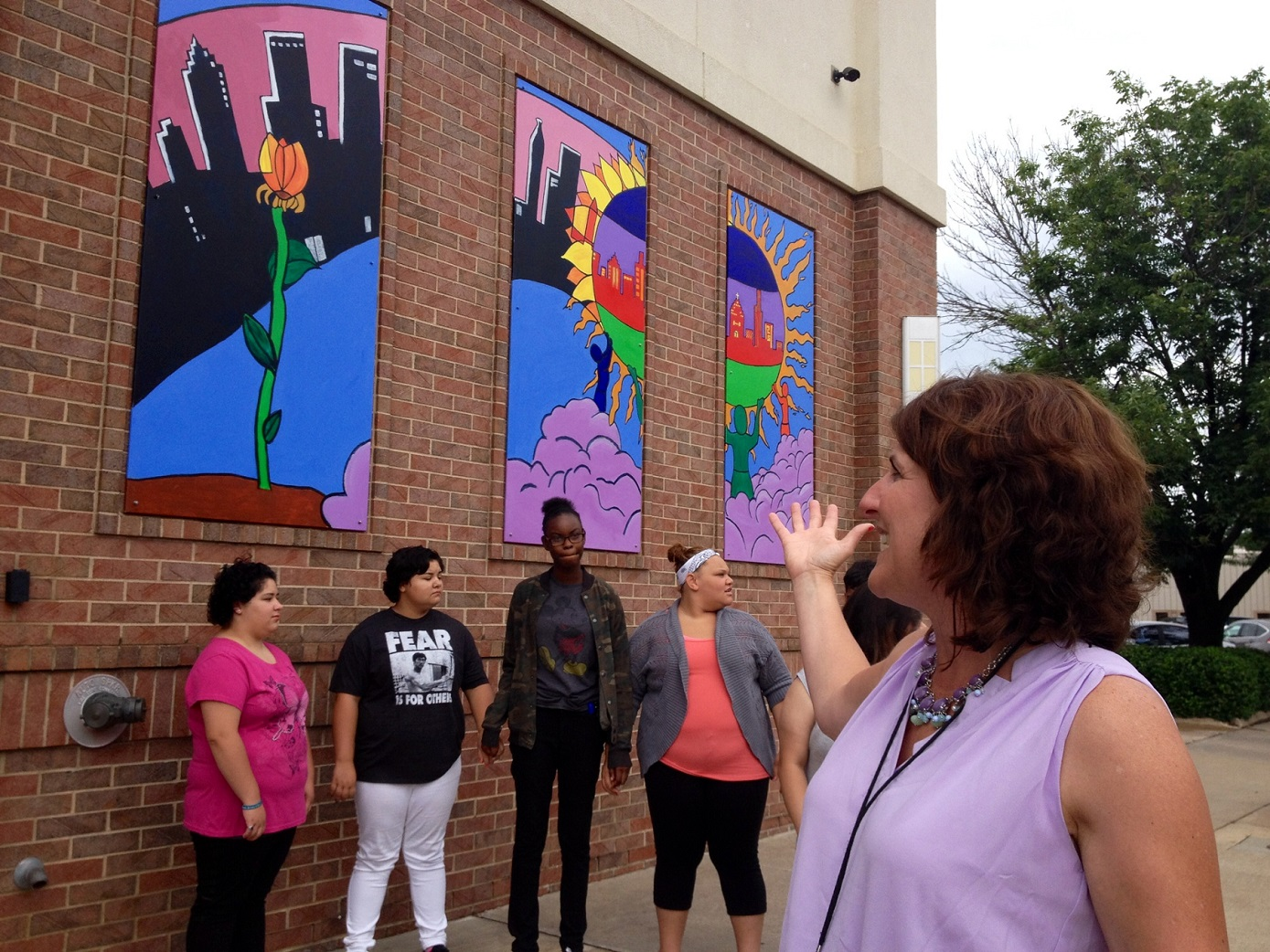 Teen Artists Create Teen Center Mural