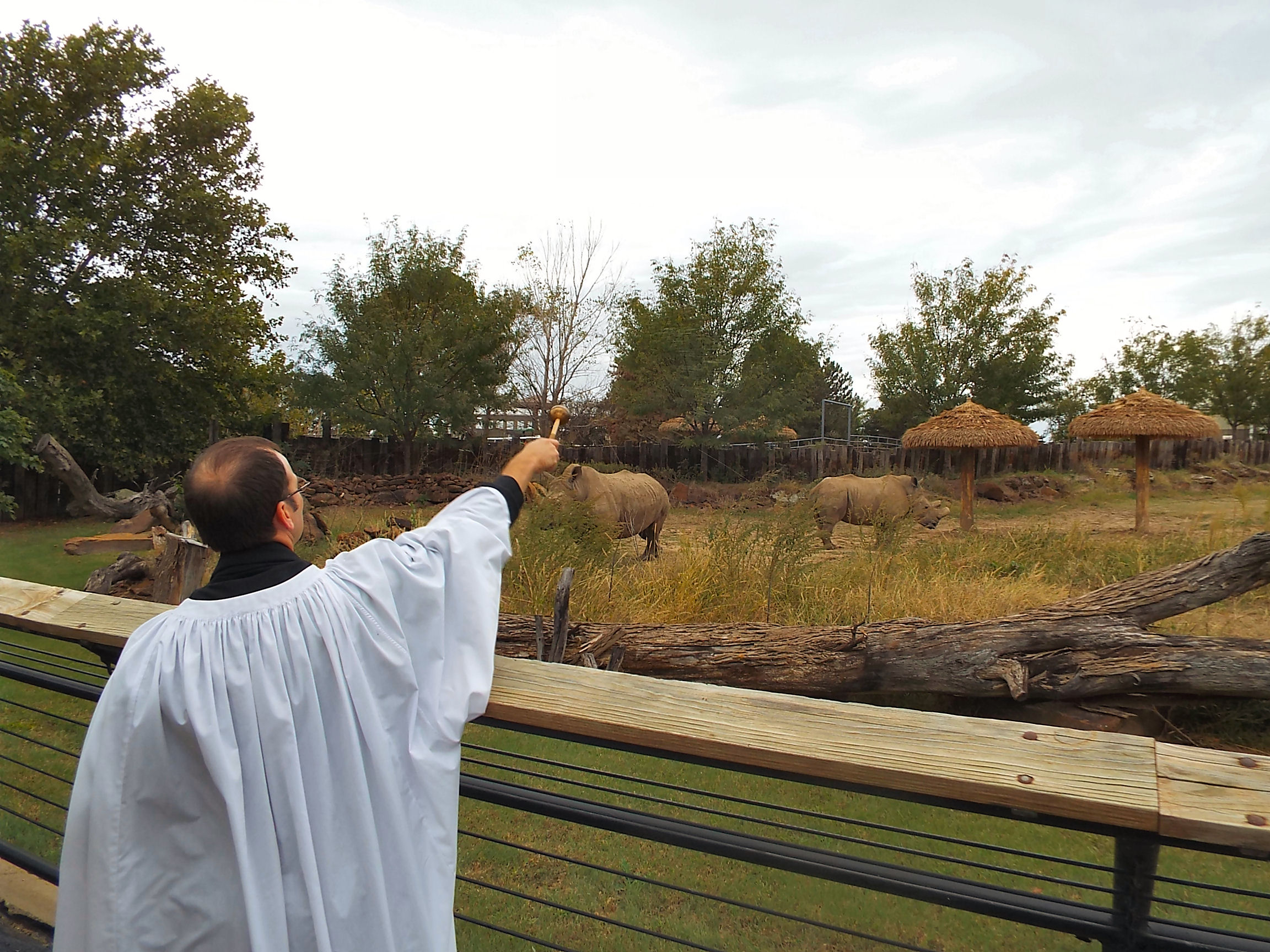Father Benjamin offers a blessing to the rhinos at Rolling Hills Zoo.