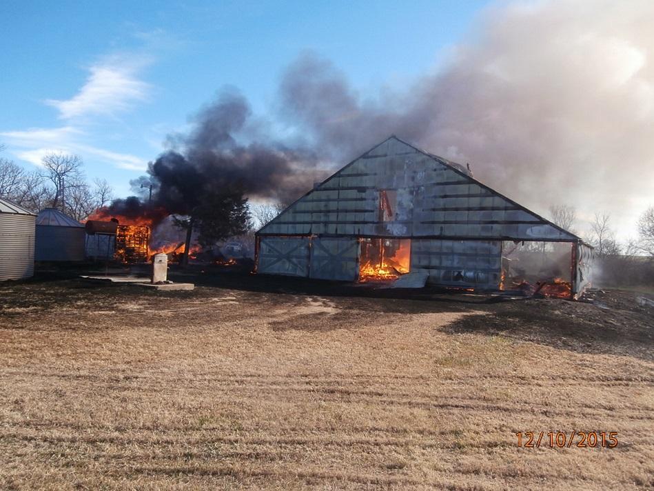 County Fire Sets Buildings Ablaze