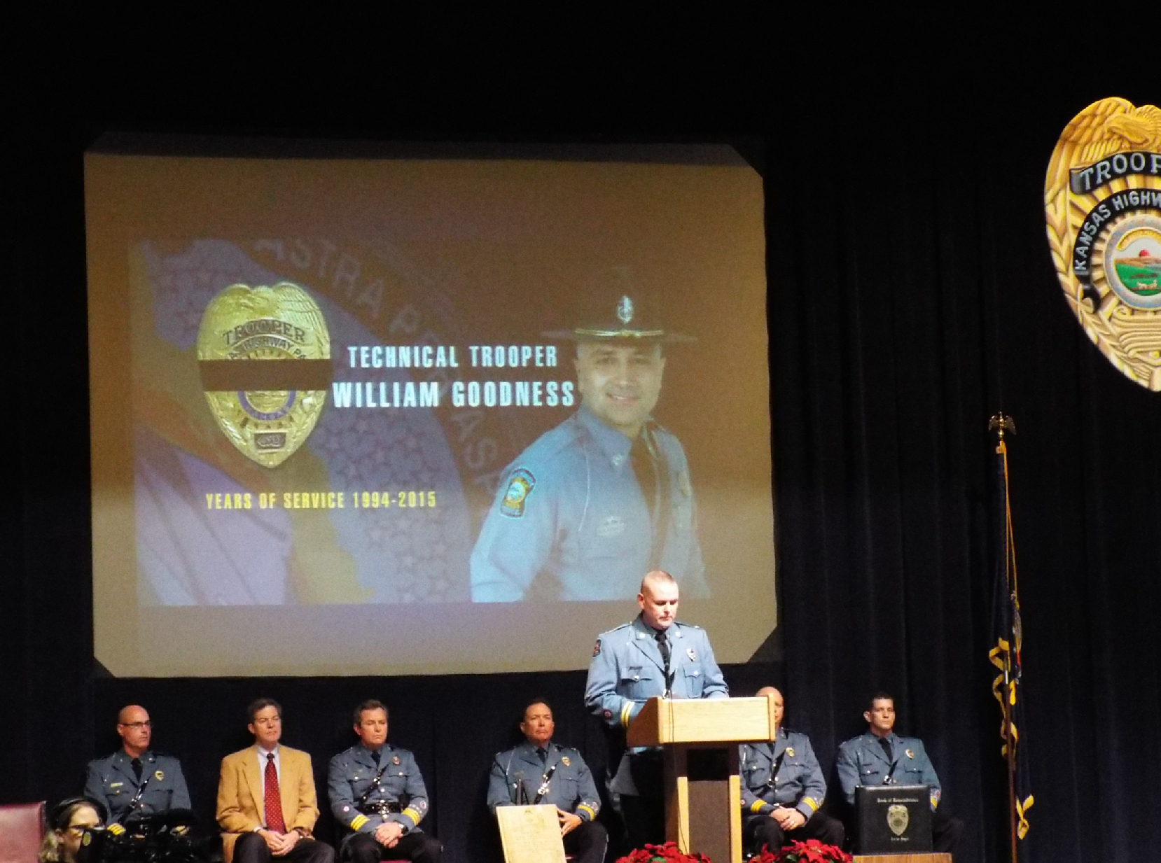 The graduation ceremony included a tribute to Master Trooper Bill Goodness, who passed away earlier this fall following a long battle with cancer.