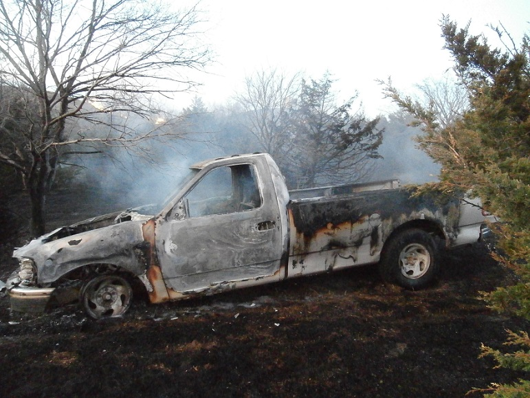 Truck Destroyed in Grass Fire