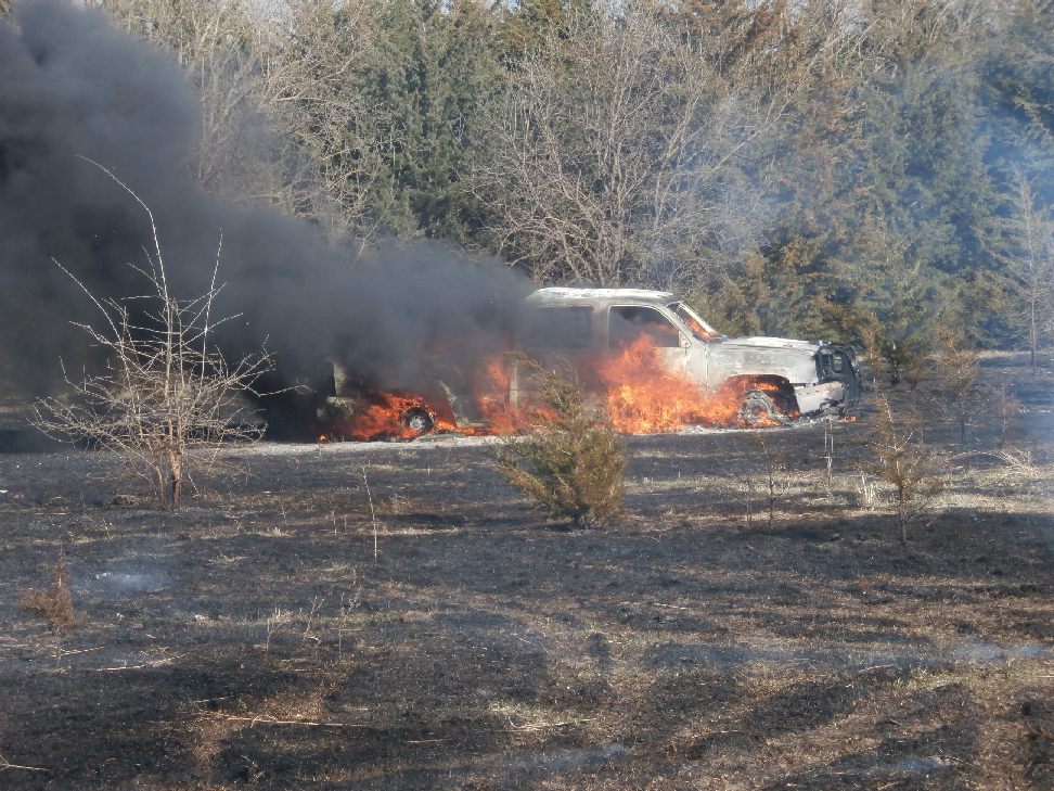 Fire Destroys Truck, Spreads to Pasture