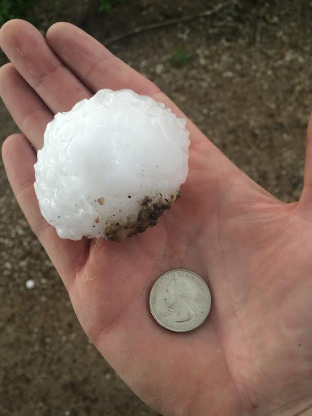 Hail up to the size of baseballs fell in the New Cambria area. Photo by Tanner Colvin.