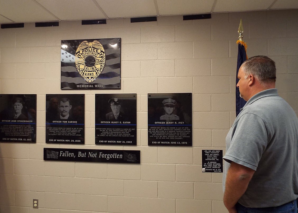The four Salina Police Officers killed in the line of duty are memorialized on the wall.