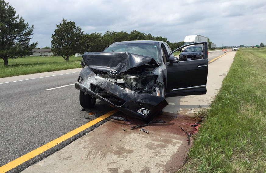 Car Hits Highway Patrol SUV