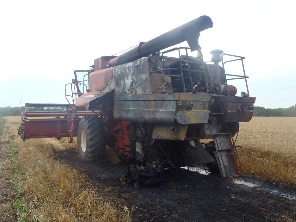 Combine Damaged by Fire
