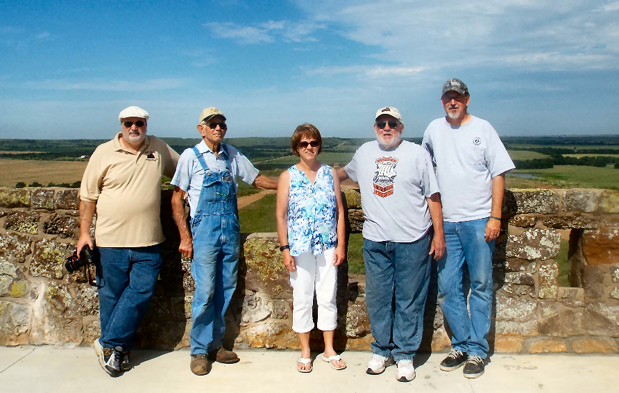 (from left) Smoky Valley Historical Association Board Members Tim Stewart, Chester Peterson, Lenora Lynam, Chris Abercrombie, and project manager Bill Shipley.