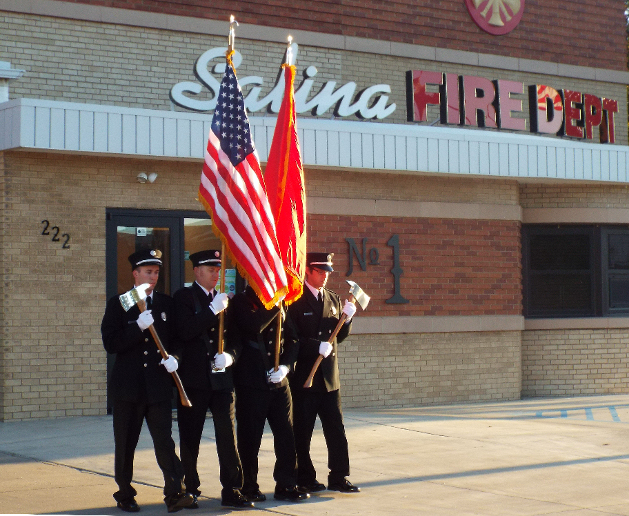 The honor guard retires the colors.