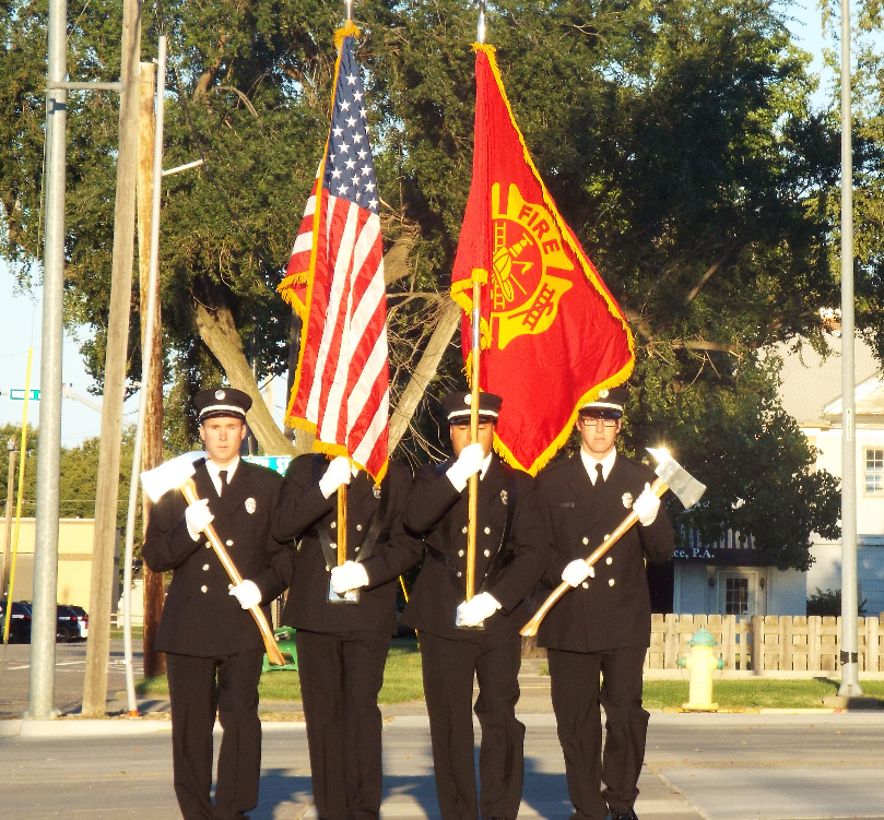 The Salina Fire  Departmentr Guard presents the colors.