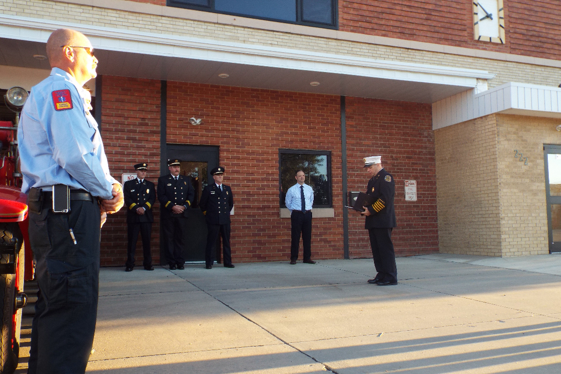 Saline Fire Chief Kevin Royse speaks.