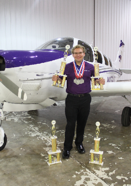 Chris Messing, a senior in the professional pilot program at Kansas State Polytechnic, wins the title of Top Pilot and is the Top Scoring Contestant at the National Intercollegiate Flying Association's SAFECON Region VI. (KSU photo)