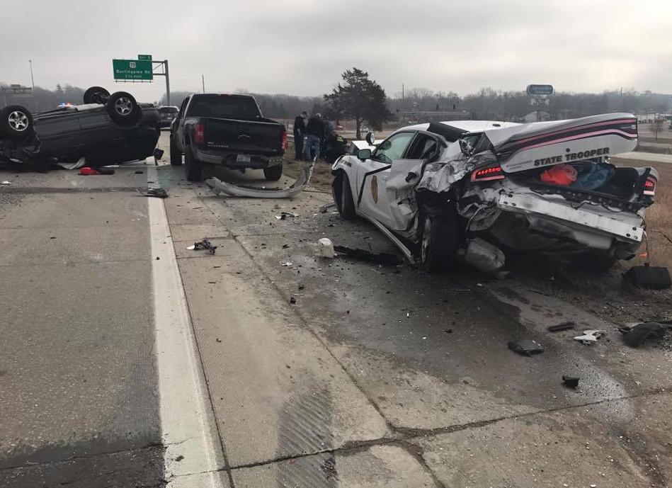 Troopers Among Three Hurt in Crash