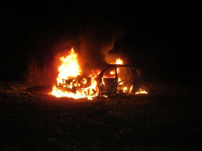 Fire Consumes Van