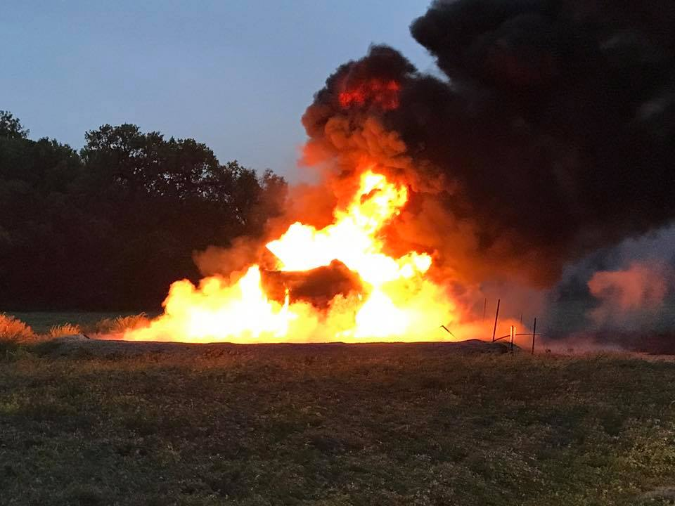 Lightning Catches Oil Tank on Fire