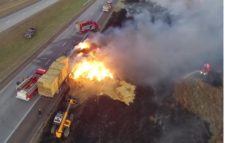 VIDEO: Fire Destroys Truck; Spreads to Field